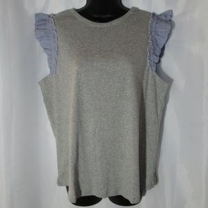 Tank top with ruffled arm opening